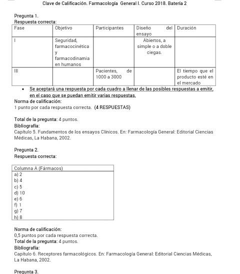 Clave Farmacología I 2018 - MIC Venezolanos Prueba