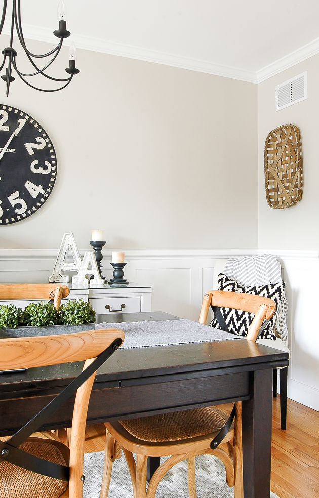 modern farmhouse dining room, hobby lobby, tobacco basket