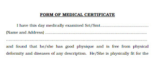 APPLICATION FORM FORMAT OF MEDICAL CERTIFICATE FOR THE POST OF KERALA PSC  LIVESTOCK INSPECTOR Form Download: Medical Certificate Format PDF