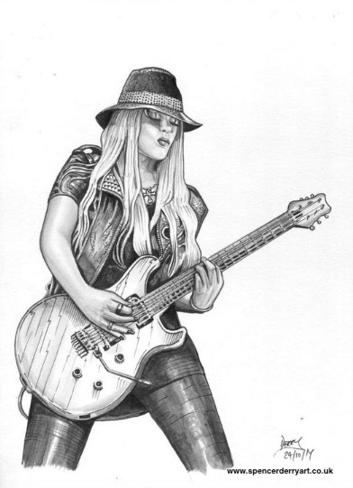 Pencil Drawing Study of Female Guitarist Orianthi