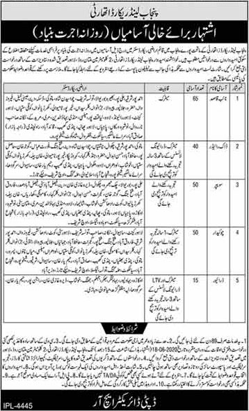 Official Advertisement for Punjab Land Record Authority Jobs 2020