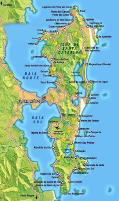 Mapa das praias de Florianópolis