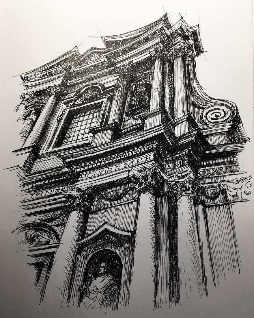 02-SS-Trinità-dei-Pellegrini-Mark-Poulier-Drawing-Urban-Architecture-on-a-Sketchbook-www-designstack-co