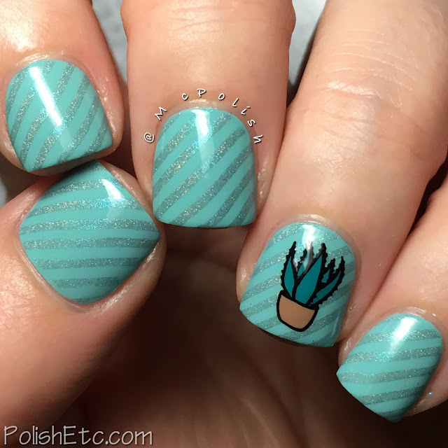 Striped succulent nails for the #31DC2018Weekly - McPolish