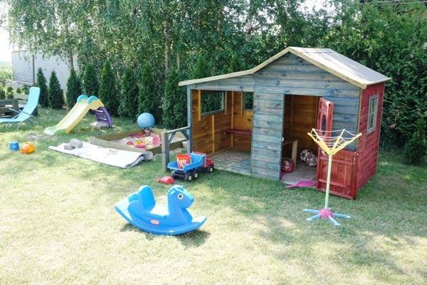 zabawki ogrodowe - bujak, domek, zjeżdżalnia