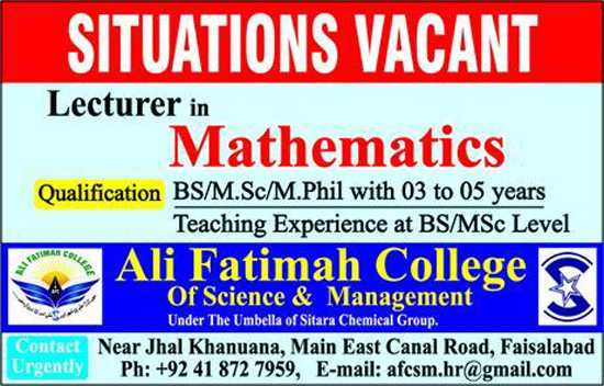 Jobs in Ali Fatima College of Science and Management Faisalabad October 2017.
