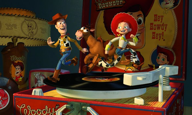 Toy Story 2 characters dancing on a record