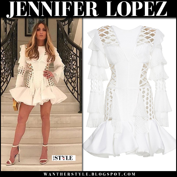 Jennifer Lopez in white pleated mesh mini dress from Balmain party style celebrity november 16