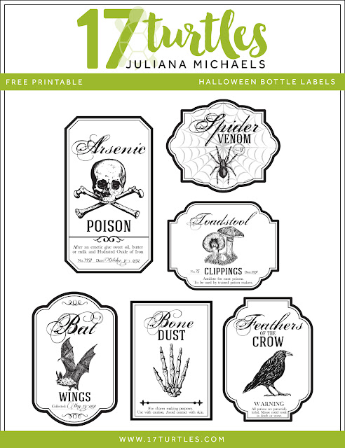 Halloween Apothecary Bottle Labels Free Printable by Juliana Michaels