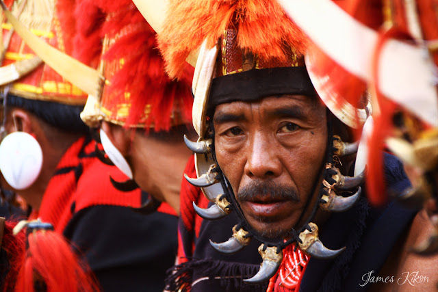 Naga tribesman in traditional headgear
