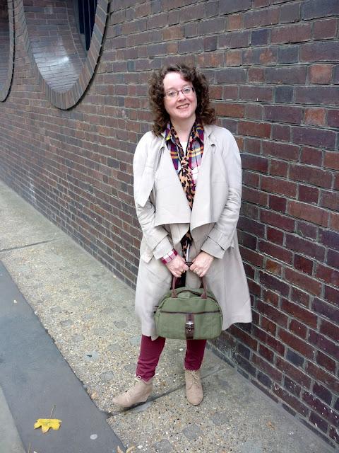 Petite Asos Duster Coat, Burgundy Jeans, Leopard Print Tie | Petite Silver Vixen