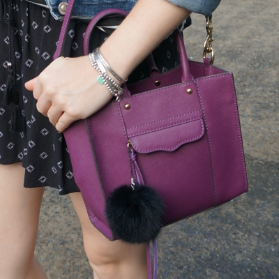 Rebecca Minkoff mini MAB tote in plum purple with faux fur pom pom charm | away from the blue