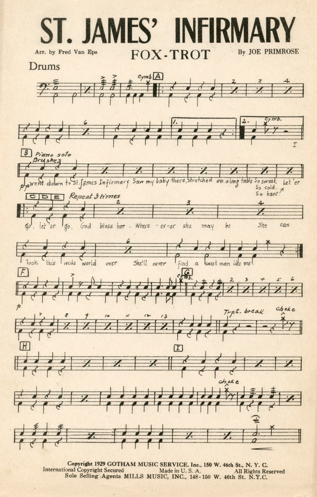 I Went Down to St  James Infirmary: More sheet music for St