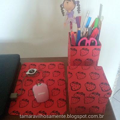 DIY mousepad porta lápis caixinha home office decor - Tamaravilhosamente