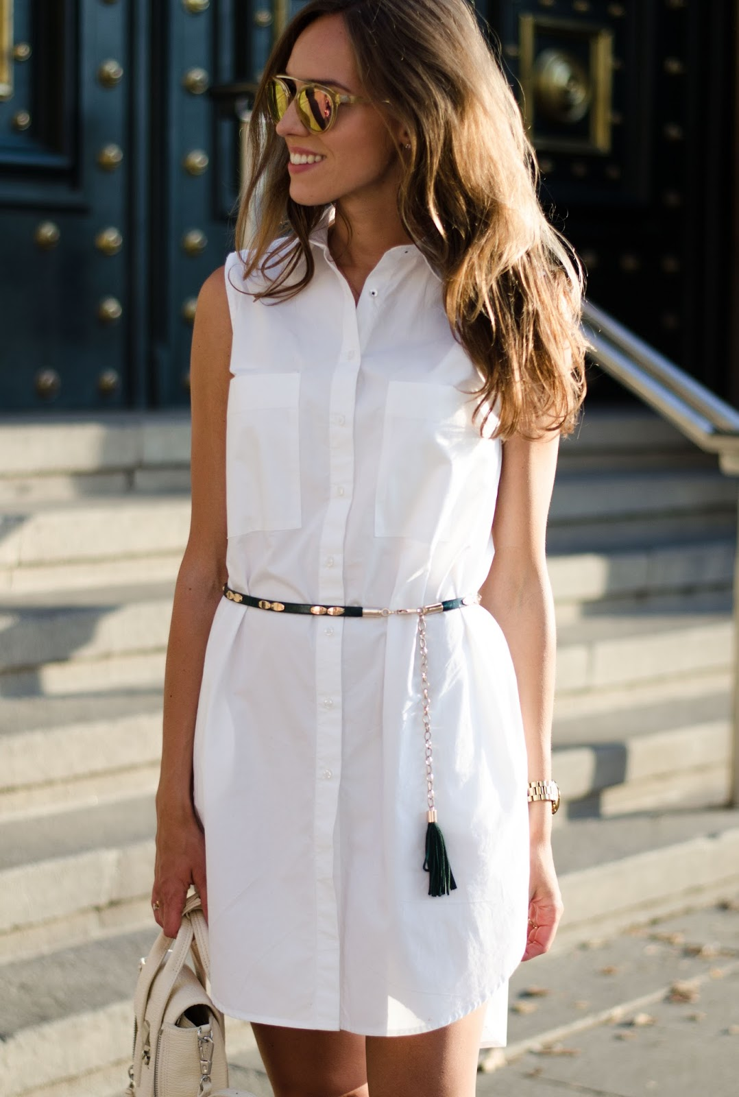kristjaana mere white sleeveless shirt dress summer outfit