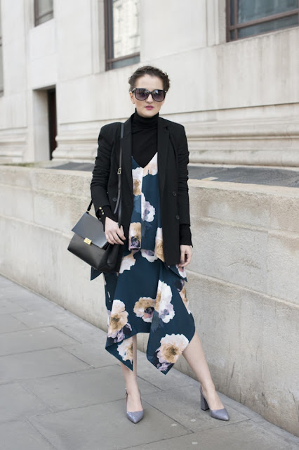 floral print slip dress street style