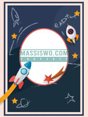 Background kartu ulang tahun dengan tema luar angkasa