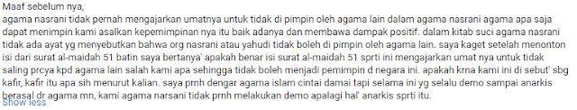 Komentar Orang Kristen Tentang Al-Maidah Ayat 51