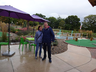 Emily and Richard Gottfried at the Adventure Golf course at the Four Ashes Golf Centre in Dorridge