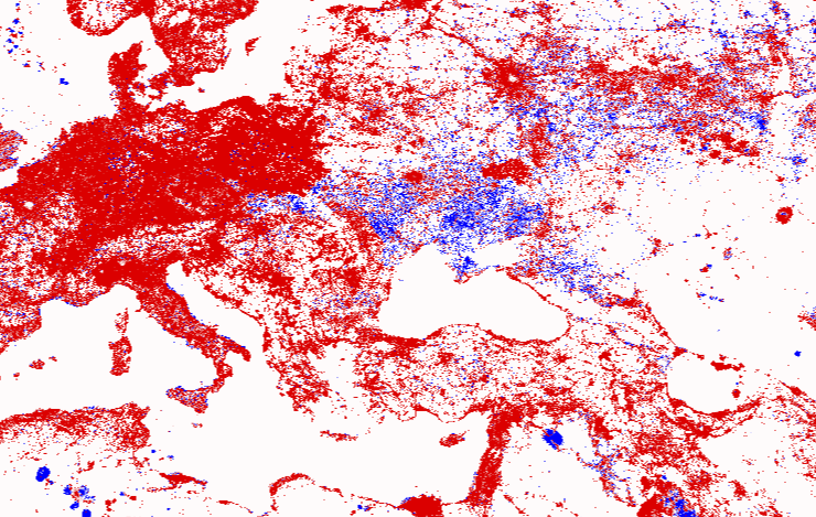 Increase (red) and decrease (blue) in illumination in Europe between 1992 and 2010