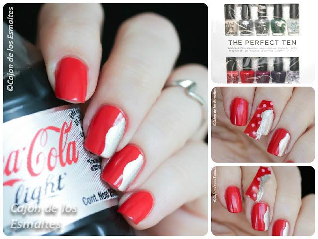 Decoración de uñas Coca Cola
