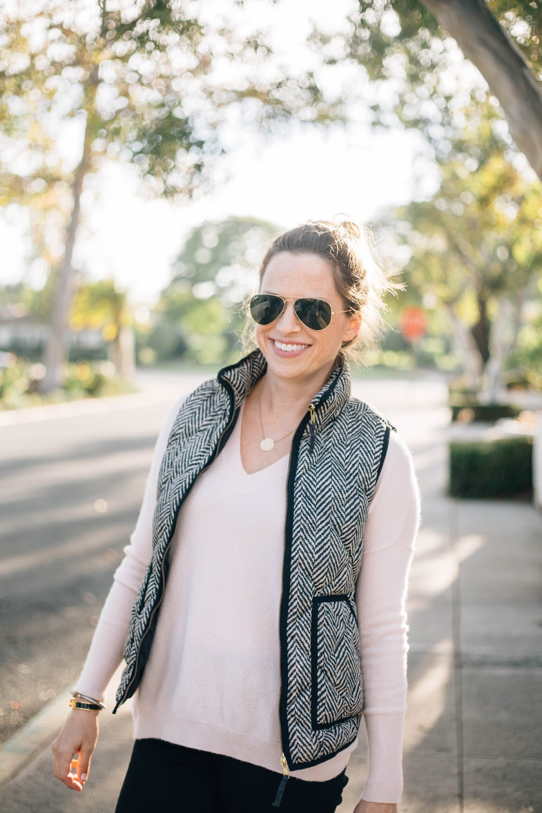 cashmere sweater and vest outfit