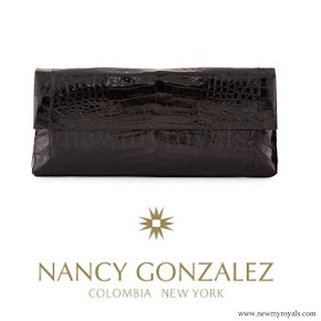 Crown Princess Victoria style Nancy Gonzalez Gotham Crocodile Flap Clutch