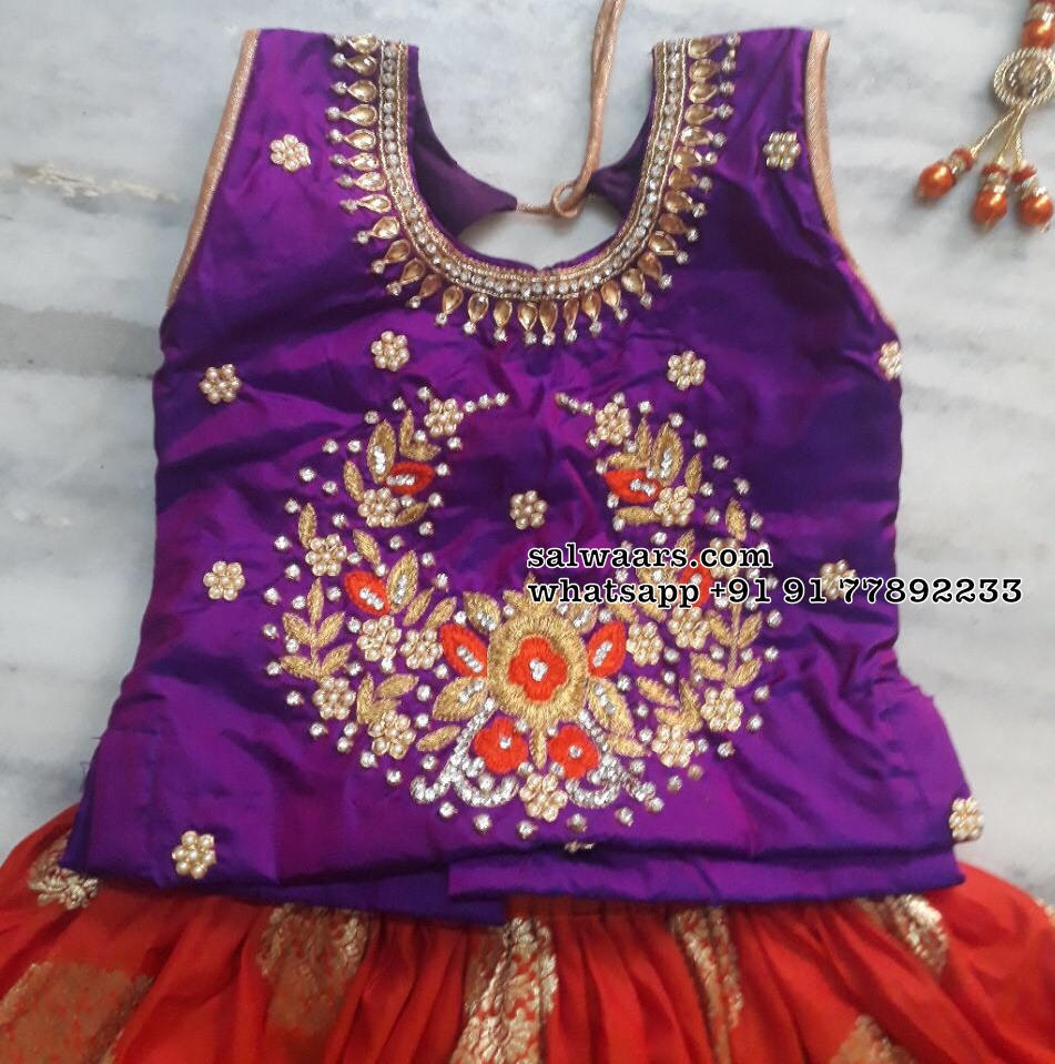 852e0682158005 Pattu Lehenga for Kids - Indian Dresses