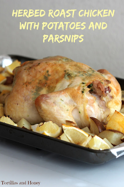 Herbed Roast Chicken with Potatoes and Parsnips #thebookclubcookbookcc