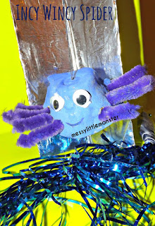 Incy Wincy Spider (itsy bitsy spider) craft and activity using an egg carton for toddlers and preschoolers. Make props to sing-a-long to the popular nursery rhyme.