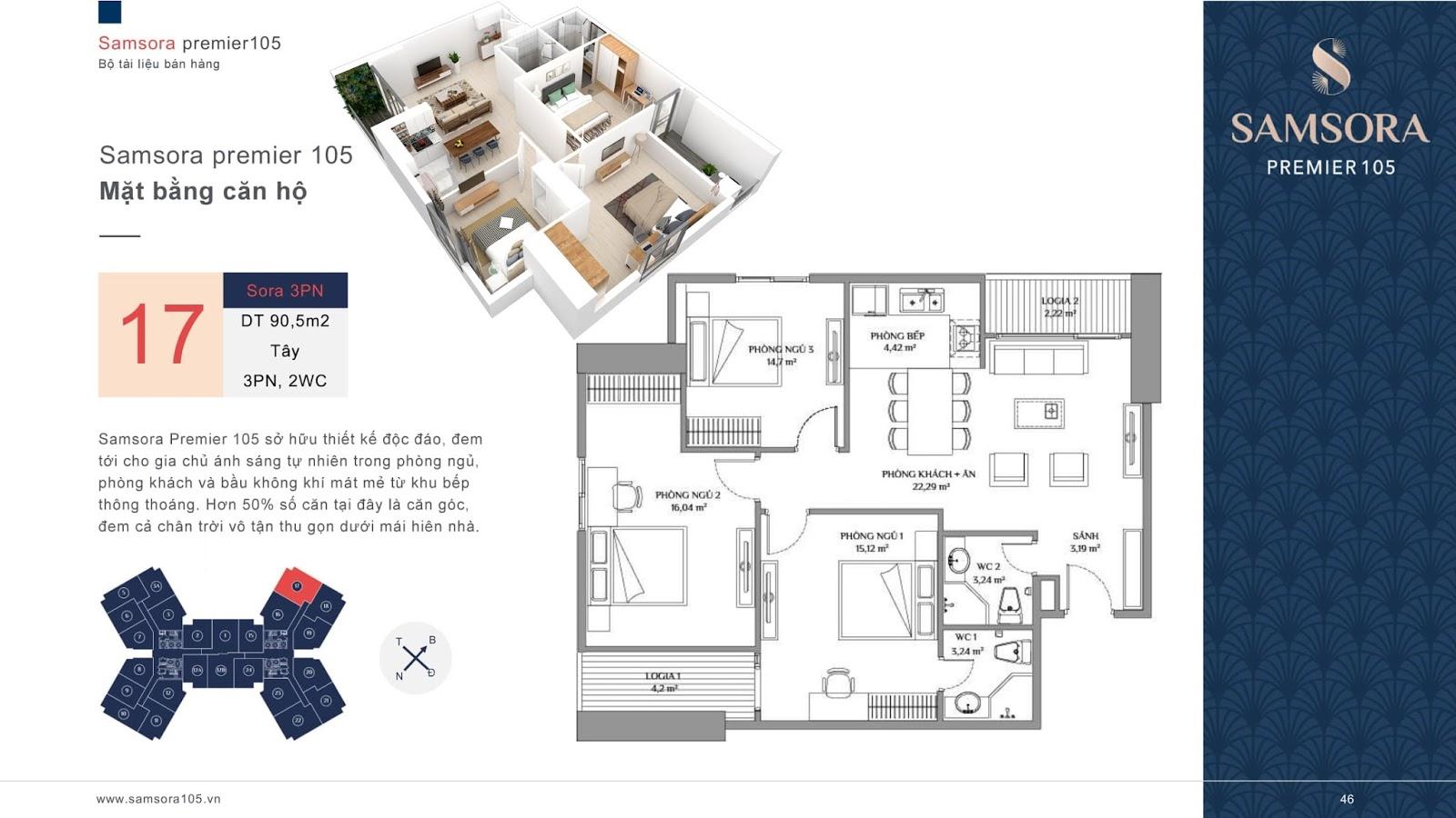 Mặt bằng căn hộ số 17 chung cư Samsora Premier