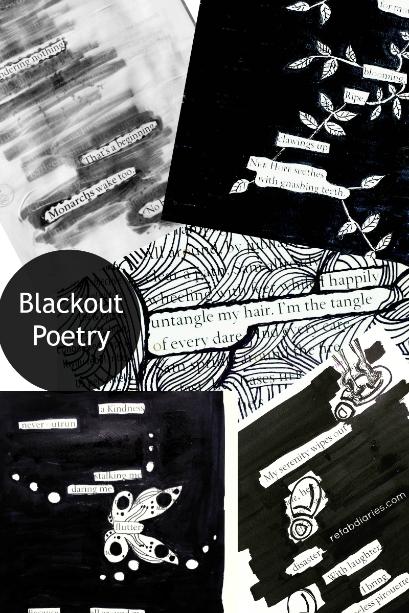 Blackout poetry - upcycling book pages with whimsy