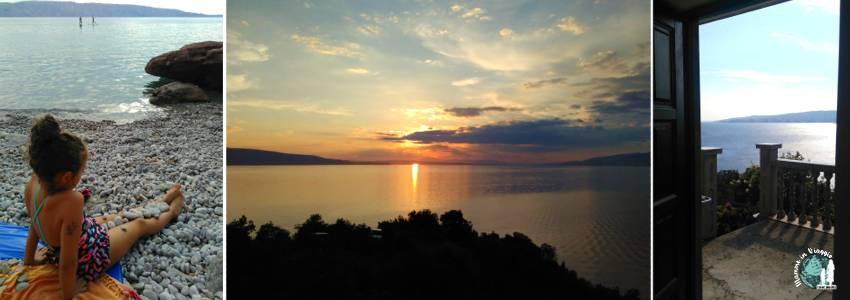 Segna, le sue spiaggette, il tramonto sul mare e la vista dal nostro appartamento