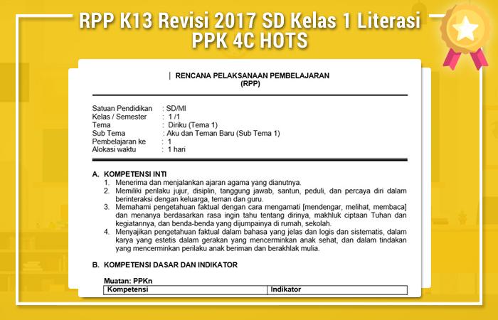 RPP K13 Revisi 2017 SD Kelas 1 Literasi PPK 4C HOTS