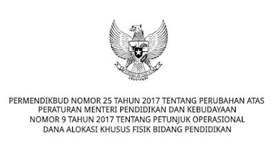 Download Perubahan Permendikbud Nomor 9 Tahun 2017 Tentang Petunjuk Operasional Dana Alokasi Khusus Fisik Bidang Pendidikan
