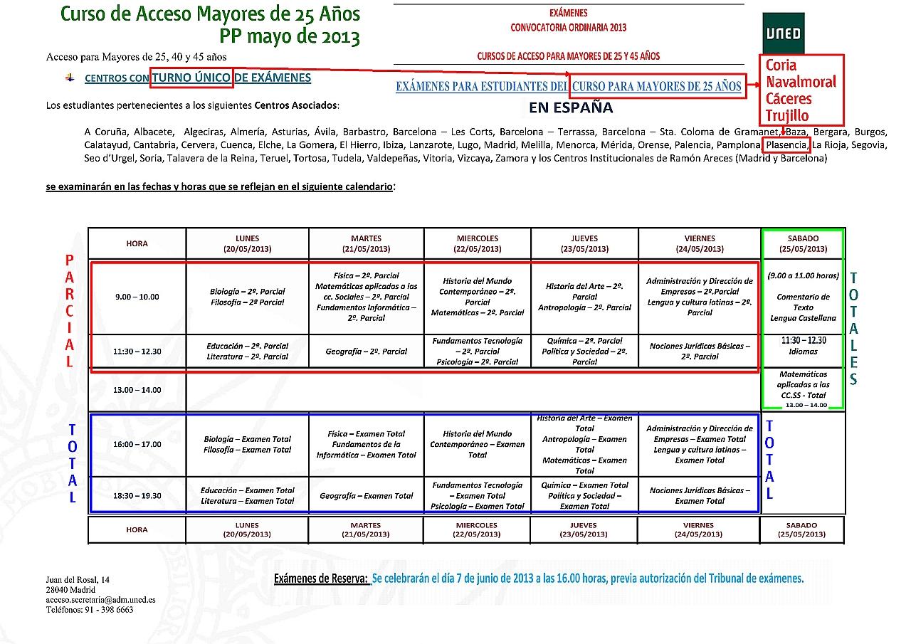 Uned Calendario Examenes.Uned Aula De Coria Caceres Examenes De Acceso Mayo 2013