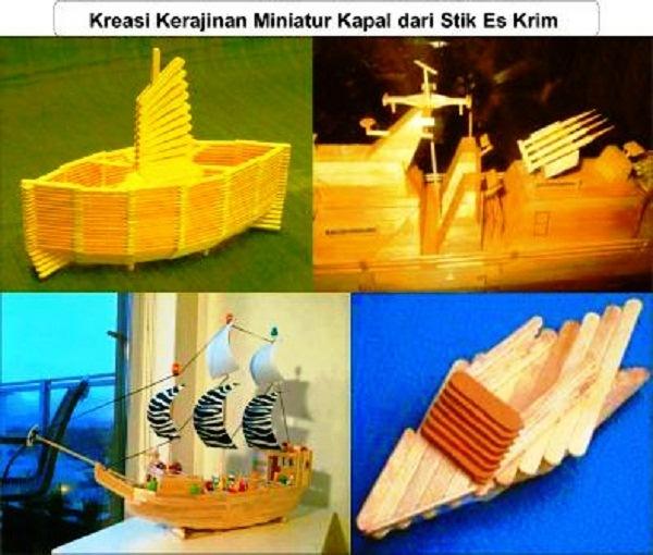 kreasi kerajinan miniatur kapal dari stik eskrim