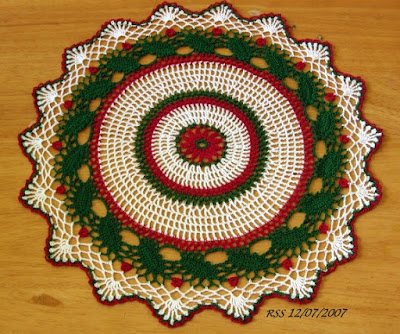 Green Holly Leaves and Red Berries Round Doily - Thread Crochet Art by RSS Designs In Fiber - Sold - Email for Custom Order Request
