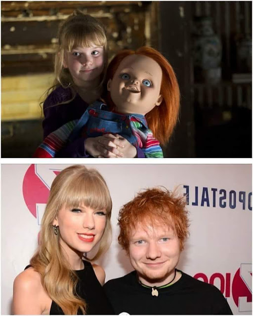 Ed Sheeran y Taylor Swift vs Chucky y su novia