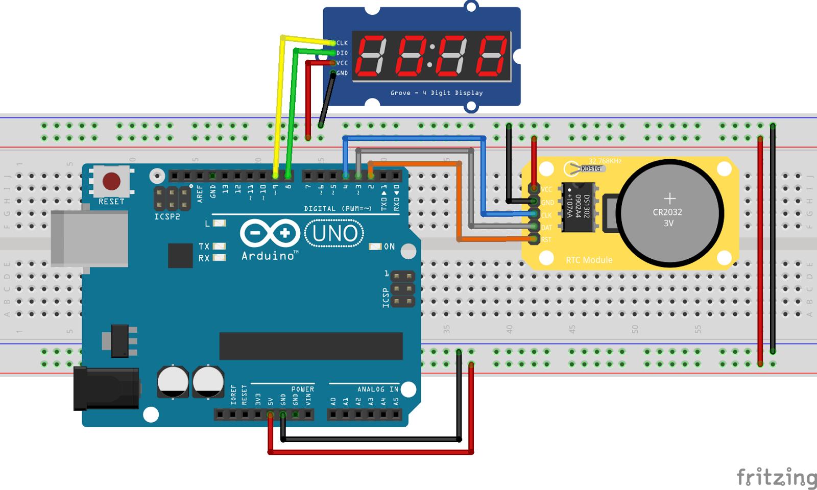 Arduino筆記(17):即時時鐘 RTC 與 TM1637 四位數顯示器 | 天花板隨記