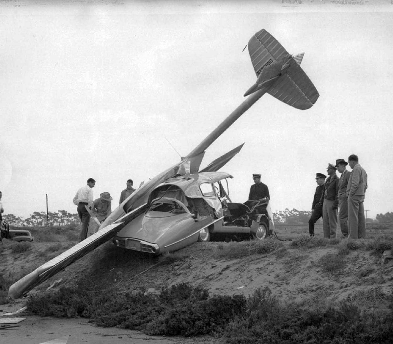 A crashed ConvAirCar. 1947.