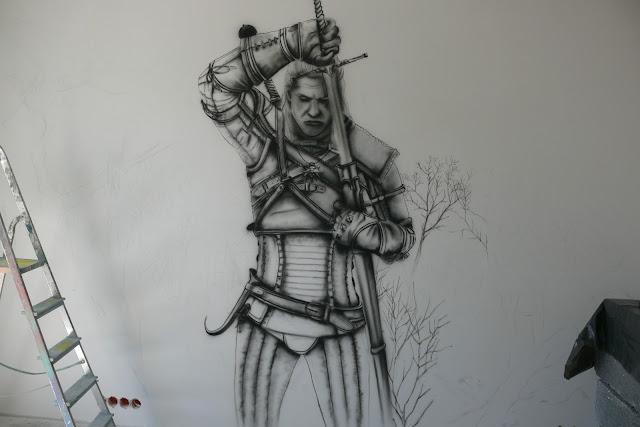 the witcher, mural, malowanie wiedźmina na ścinie w pokoju młodzieżowym,