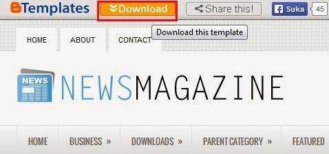 klik link download yang ada di atas navbar demo page blog