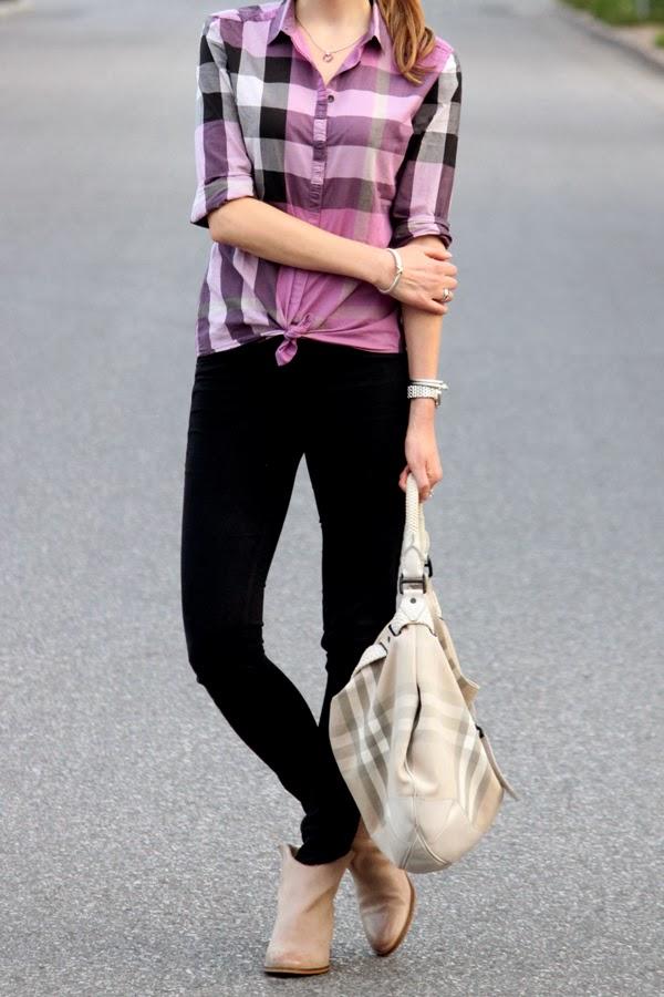 Purple Burberry check shirt & bag