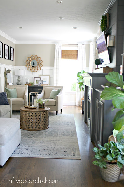 Long and narrow family room configuration