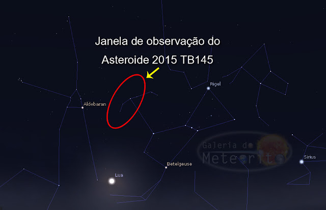 como observar o asteroide 2015 TB145 - constelação de Orion