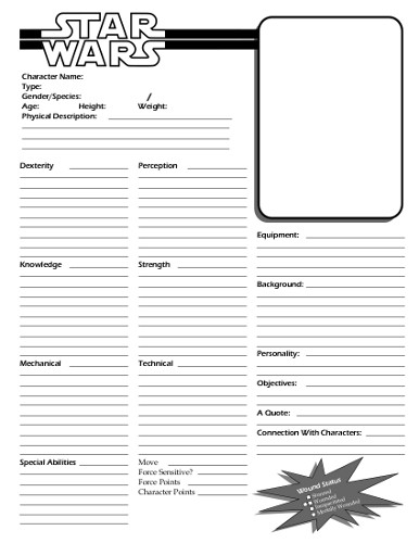 Star wars edge of the empire character sheet