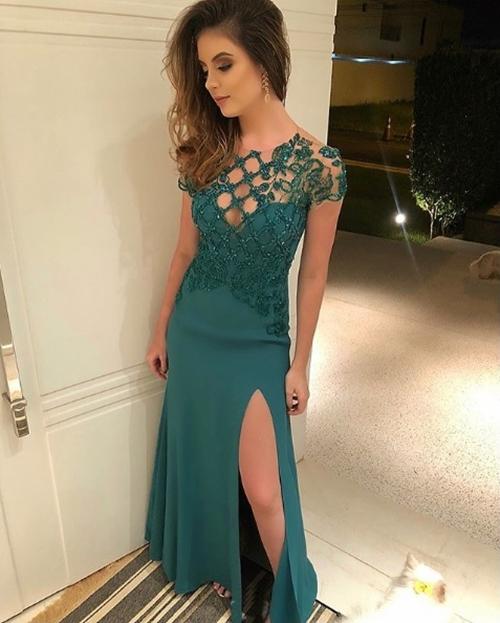 vestido de festa verde manga curta