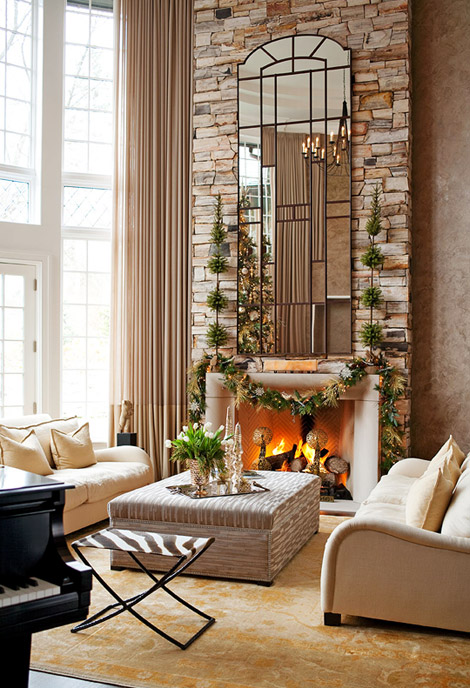 image result for beautiful classic traditional Christmas fireplace mantel decorating greenery