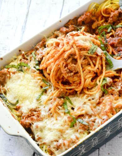 Baked Cream Cheese Spaghetti Casserole , weight watchers recipes , 9 smartpoints